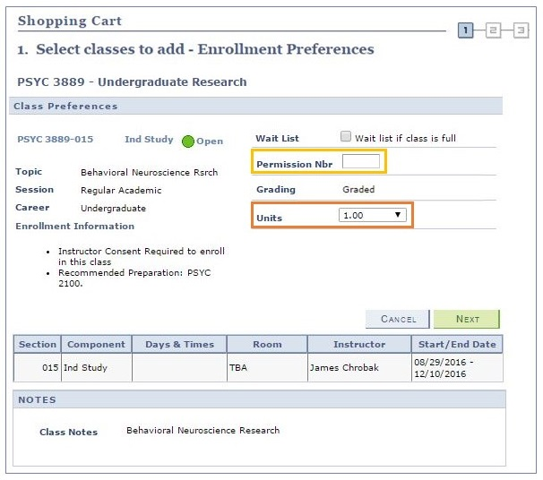 Example showing the class details for PSYC 3889 before adding the section to your shopping cart. A yellow box highlights where to add the permission number. An orange box highlights where to change the number of credits.